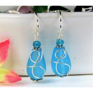 Caribbean Blue Sea Glass Earrings